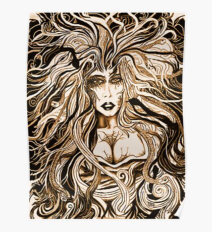 """""""Black Medusa (sepia)"""" Poster"""