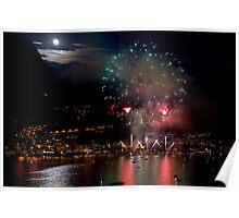 Fireworks on Lake Poster