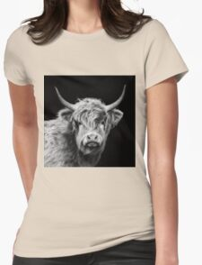 Highland Cow In Black And White Womens Fitted T-Shirt