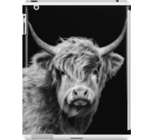 Highland Cow In Black And White iPad Case/Skin