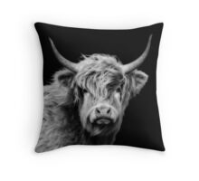 Highland Cow In Black And White Throw Pillow