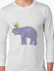 Cartoon Elephant with Flowers Vector Illustration Long Sleeve T-Shirt
