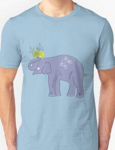 Cartoon Elephant with Flowers Vector Illustration Unisex T-Shirt