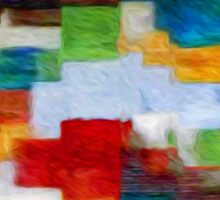 Squares Abstract Oil Painting Sticker