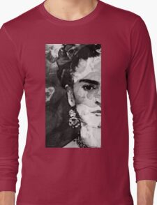 Black And White Frida Kahlo by Sharon Cummings Long Sleeve T-Shirt