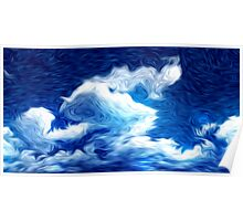Blue Sky Clouds Oil Painting Poster