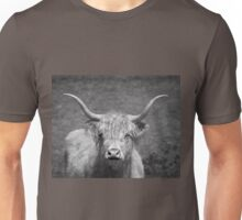 Curious Highlander Black And White Unisex T-Shirt