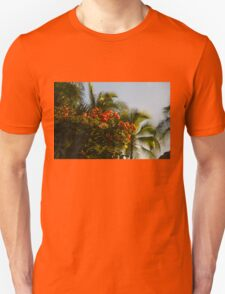 Bougainvilleas and Palm Trees Swaying in the Wind in Waikiki, Honolulu, Hawaii T-Shirt