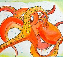 Sherbert Octopus in watercolor and ink by Katastrophe Bursich