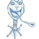 Frog Stand steampunk pet in ballpoint blue by Vicki Noble