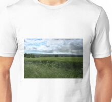 Green Field and Grey Sky - HDR Unisex T-Shirt