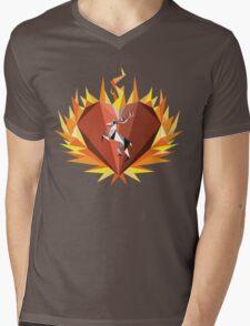 The Flaming Heart Mens V-Neck T-Shirt