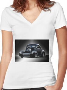 1941 Willys Coupe 'Studio' II Women's Fitted V-Neck T-Shirt