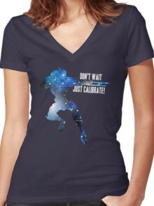 Mass Effect Silhouettes, Garrus - Don't Wait, Just Calibrate! Women's Fitted V-Neck T-Shirt