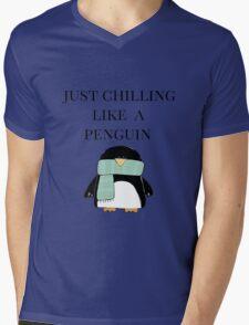 Chilling like a Penguin Mens V-Neck T-Shirt