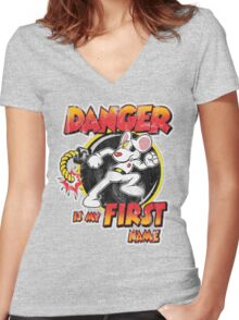 Danger is my First Name Women's Fitted V-Neck T-Shirt