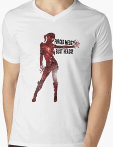 Mass Effect Silhouettes, Jack - Forced Meds? Bust Heads! Mens V-Neck T-Shirt