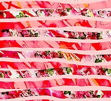Pink Watercolor Rose Floral Brush Stroke Stripes by Blkstrawberry