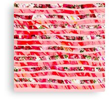 Pink Watercolor Rose Floral Brush Stroke Stripes Canvas Print