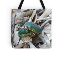 GREEN JUNE BEETLES MATING Tote Bag