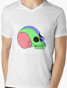 Tri-Colored Skull Mens V-Neck T-Shirt