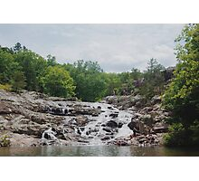 Rocky Falls and People Photographic Print