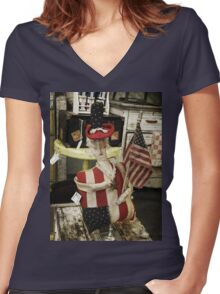 Patriotic Women's Fitted V-Neck T-Shirt