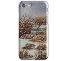 snow scene with snow covered trees and cottages painting  iPhone Case/Skin