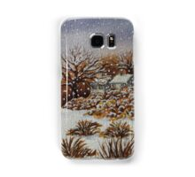 snow scene with snow covered trees and cottages painting  Samsung Galaxy Case/Skin
