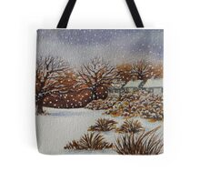 snow scene with snow covered trees and cottages painting  Tote Bag