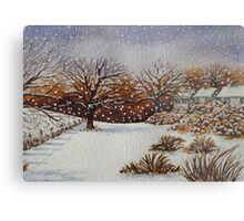 snow scene with snow covered trees and cottages painting  Metal Print