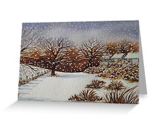 snow scene with snow covered trees and cottages painting  Greeting Card