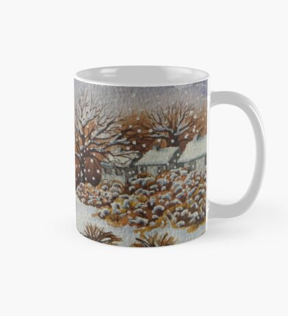 snow scene with snow covered trees and cottages painting  Mug