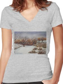 snow scene with snow covered trees and cottages painting  Women's Fitted V-Neck T-Shirt