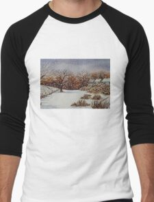 snow scene with snow covered trees and cottages painting  Men's Baseball ¾ T-Shirt