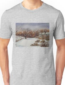 snow scene with snow covered trees and cottages painting  Unisex T-Shirt