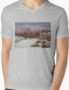 snow scene with snow covered trees and cottages painting  Mens V-Neck T-Shirt