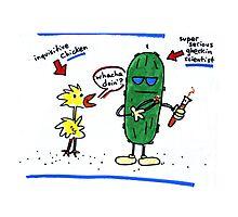 Inquisitive Chicken versus Super Serious Gherkin Scientist Photographic Print
