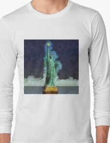 Liberty Stands Alone by Sarah Kirk Long Sleeve T-Shirt