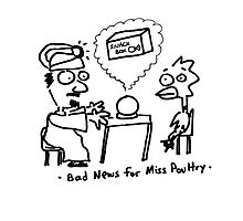 Bad News for Miss Poultry Photographic Print