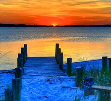 July Sunset at Fenwick Island by Monte Morton