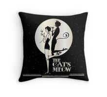 Gatsby Girl Flapper The Cat's Meow (black, silver & pearl) Throw Pillow