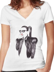Lady In Black Women's Fitted V-Neck T-Shirt