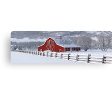 Winter Barn Panorama Canvas Print