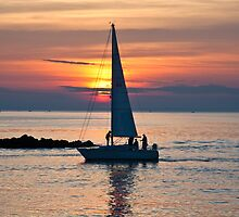 Sailboat entering Mount Sinai Inlet by Jay Morena