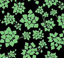 Water caltrop pattern in black and green by ravynka