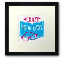 Crazy Book Lady with a pair of glasses and a book in blue Framed Print