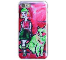 Neon Cat and Space Girl iPhone Case/Skin