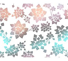 Water caltrop pattern in white and pastel ombre Photographic Print