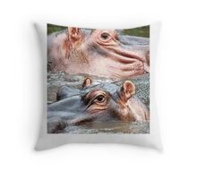ANIMAL KINGDOM - HIPOPOTAMUS- AMPHIBIUS   Throw Pillow